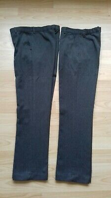 2 Pairs Boys Grey School Trousers. Age 11 Years. Adjustable Waist. Matalan