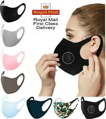 Breathable Surgical Mask Washable Black Reusable Face Mouth Protection UK
