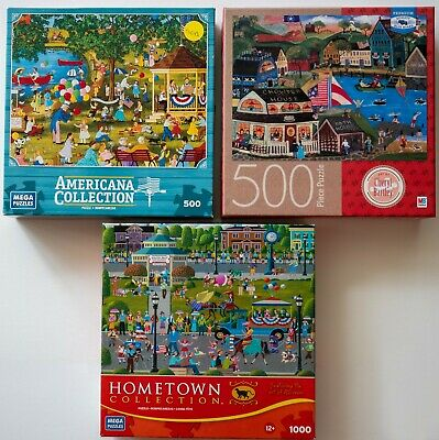 3 Fun Early American Jigsaw Puzzles in Excellent Condition