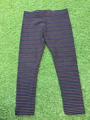 Next Girls Age 6 Black Sparkly Stripe Leggings
