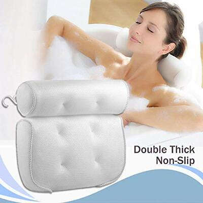 Bath Pillow with Suction Cups, Breathable 3D Mesh Bath Cushion for Head and