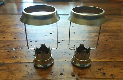 """Antique Vintage Pair Brass(?) Candle Followers w/Shade Holder 4"""" tall"""