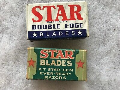 2 Different STAR BRAND vintage Razor Blade Boxes With Blades