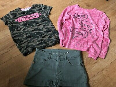Girls clothes bundle Shorts,jumper,top Age 8-10 H&M,Primark,St Bernard