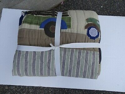 Pottery Barn kids Bryce twin quilt truck  New without  tag