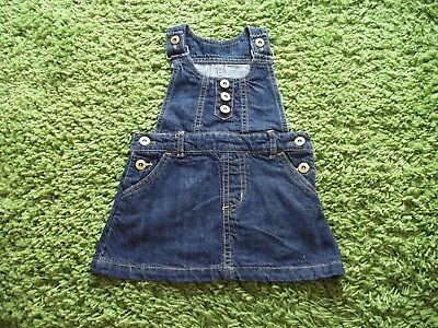 Dark Blue Denim Pinafore Dress & White Turtleneck.  Age 2-3