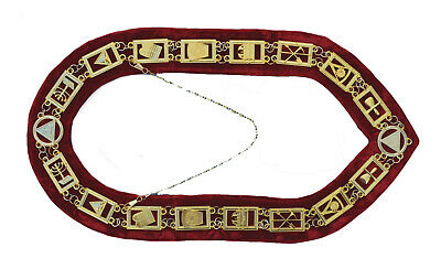 Masonic Regalia Royal Arch Mark Master Metal Chain Collar Red Backing DMR-300GR