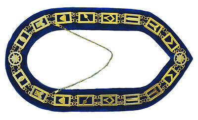 Masonic Regalia Master Mason Metal Chain Collar Blue Backing DMR-400SB