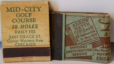 Mid-City Golf Course Chicago Arrow Match Corp Advertising Maywood IL Matchbook