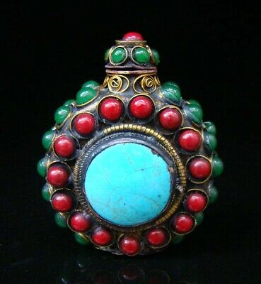 Collectibles Handmade Brass & Ruby & Jade & Turquoise Inlaid Snuff Bottles