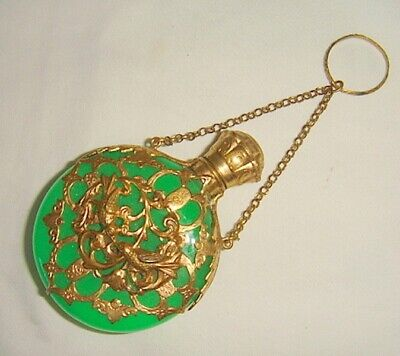 Vintage Green Opaline & Brass Finger Perfume with Stopper