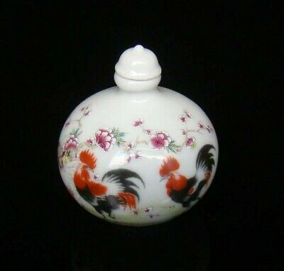 Collectible 100% Handmade Painting Porcelain Snuff Bottles Cock 02