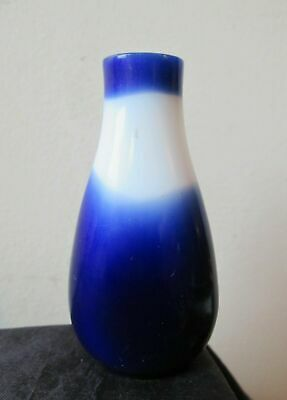 ANTIQUE old 19th century CHINESE white & COBALT Blue PEKING GLASS Snuff bottle