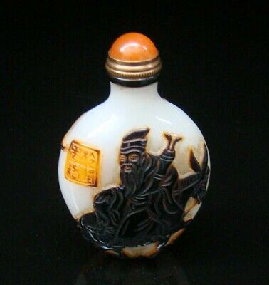100% Handmade Carved Painting Snuff Bottles old peking Colored glaze 042