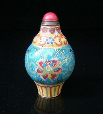 Collectibles 100% Handmade Painting Brass Cloisonne Enamel Snuff Bottles 002