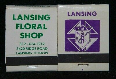 Knights of Columbus Columbia Club K of C Lansing Floral Shop IL Matchbook