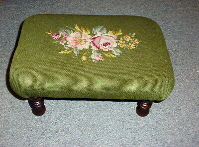 VTG Floral Antique Needlepoint Footstool Colonial Fireside Ottoman Hand Stitched