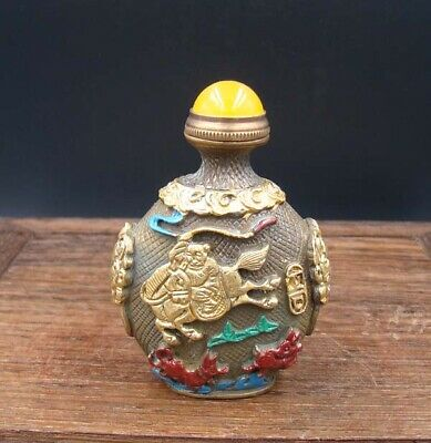 Collectible 100% Handmade Carved Painting Brass Snuff Bottles NO-35
