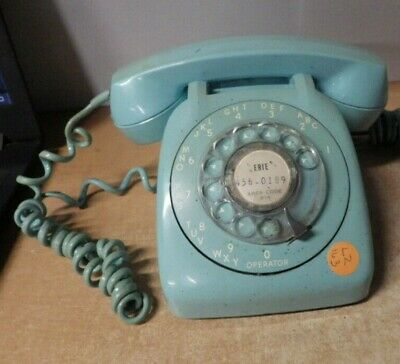 Vintage 1950'S Automatic Electric Rotary Dial Telephone In Blue Aqua Blue