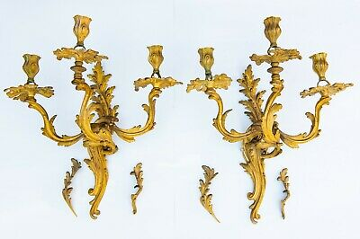 Antique French Rococo Bronze Gilded 3 Light Wall Candelabras Sconces art nouveau