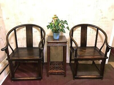 19 Century Chinese Antique Horseshoe Chairs Qing Dynasty Walnut with Table Set