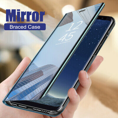 For Huawei P Smart 2020/P40 P30 P20 Lite Clear Mirror Flip Leather Case Cover