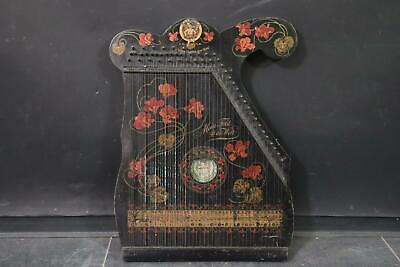Jugendstil Engel Gitarr Zither Holz lithografiert um 1900 (ML5248)