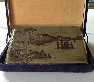 Antique Japanese Sterling Silver Cigarette Case with Original Box
