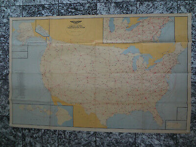 1962 Domestic Air Us Mail Transportation System Post Office North America Map