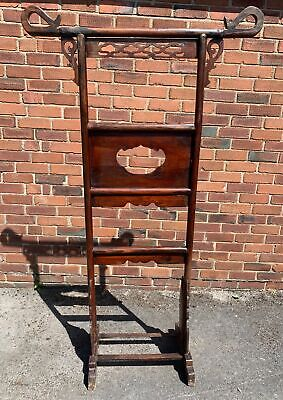 Large Antique Chinese Hardwood Carved Wooden Robe Hall Stand 189cm Height