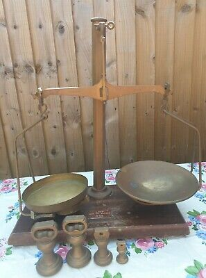 Large Antique Weighing Scales Brass Agate Class B & Weights Wooden Base