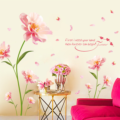 Romantic Flowers Letters Sticker Living Room Bedroom Home Decoration Wall Decals
