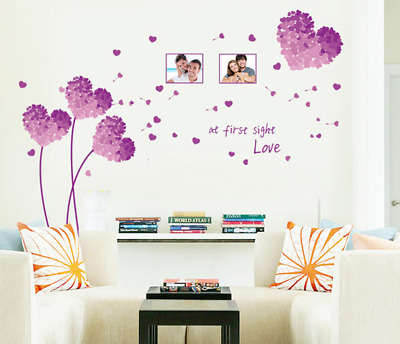 Purple Flower Heart Sticker Removable Living Room Bedroom Adornment Wall Decals