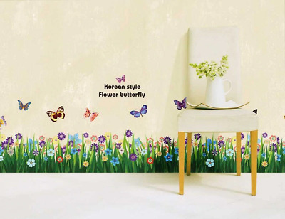 Plant Flower Butterfly Stickers Removable Living Room Autocollant Wall Decors