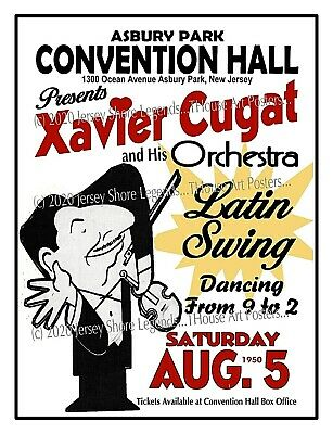 XAVIER CUGAT 1950 ASBURY PARK NJ Convention Hall POSTER/SIGN by THouse