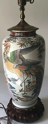 Fine Antique Chinese Lamp Twin Peacocks Porcelain handpainted vase Wooden Base