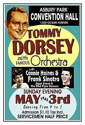 TOMMY DORSEY 1942 ASBURY PARK NJ Convention Hall POSTER/SIGN by THouse