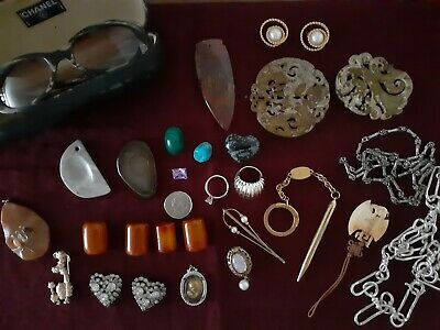 Junk Drawer Lot Antique,Vintage, Jade,amber,925 sterling, Chanel sunglasses,