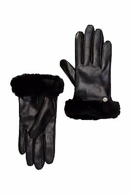 UGG Women's Genuine Dyed Shearling Trimmed Leather Gloves In Black Size L