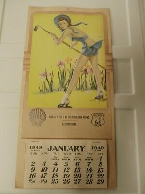 1949 Vintage Shell Motor Oil Advertising Calendar Lady with Hoe