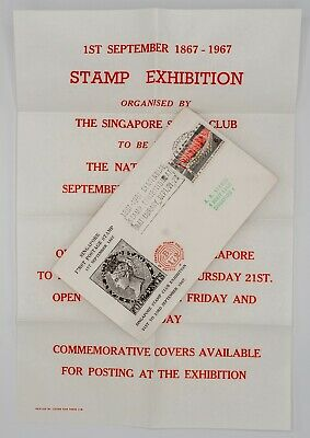 SINGAPORE 1967 Postage Stamp Centennial Exhibition Illustrated Cover with flyer