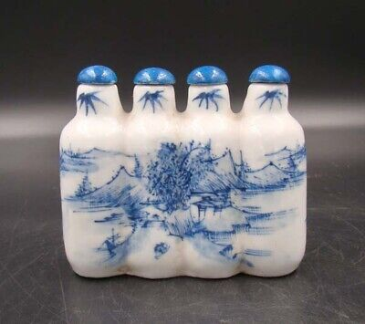 Collectible 100% Handmade Painting Porcelain Snuff Bottles 4 Connected 001