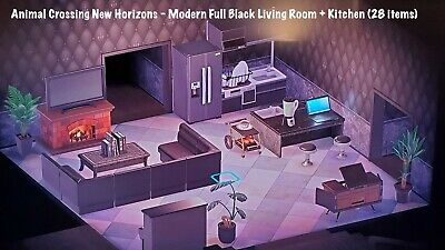 Animal Crossing New Horizons: All Black Living Room + Kitchen & FREE Gift