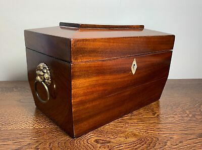 Antique Victorian Flame Mahogany Tea Caddy Lion Handles Twin Compartments