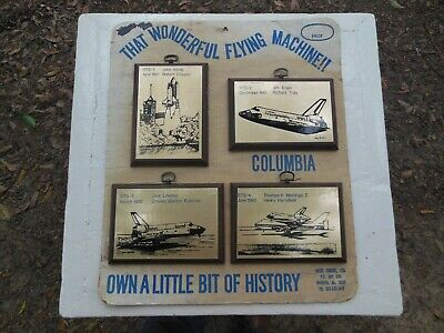 Vintage Lot of 4 Columbia Space Shuttle Nasa Wall Plaques on Card Rare