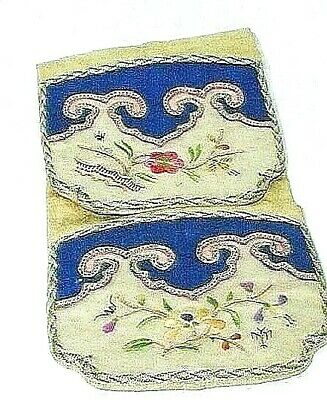 Antique Chinese Embroidered Silk Purse Flowers Blind Stitch