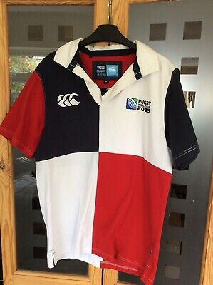 Mens Canterbury Rugby World Cup 2015  White Mix Shirt Size Med