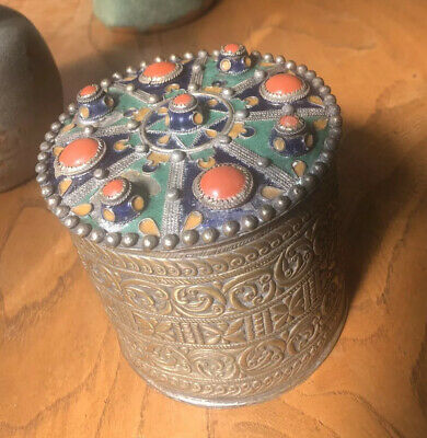 19th Century Brass Embossed Chased Chinese Tibetan Tea Caddy Enamel Coral