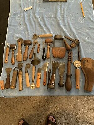Vtg LEATHER Working Tool Lot Knife Rollers And Other Primitive Tools Punch Pick