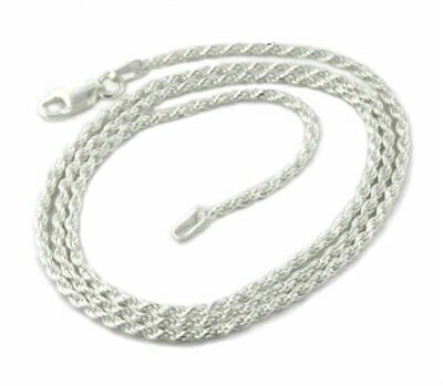 Silver Sterling Rope Chain Necklace Diamond Cut 925 Solid Italy New Real Silver